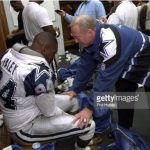 Jerry Jones addresses player in locker room