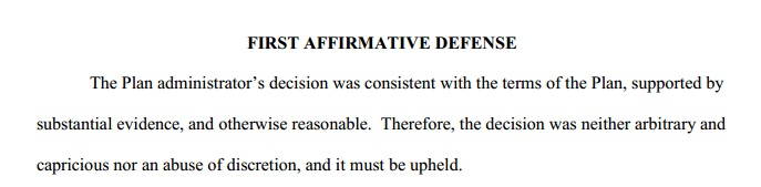 First Affirmative Defense