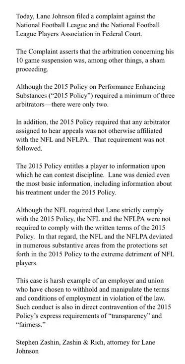 Lane Johnson Attorney Statemtn