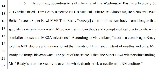 Tom Brady rejects NFL painkiller culture