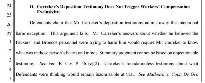 Carreker's deposition testimony