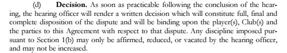 decision per CBA
