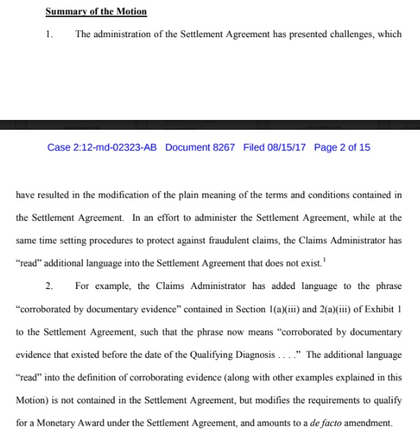 Nfl concussion settlement is becoming more of an obstacle course the assertions made in this motion claim additional unwritten language read into the settlement agreement amount to a de facto amendment to the settlement platinumwayz
