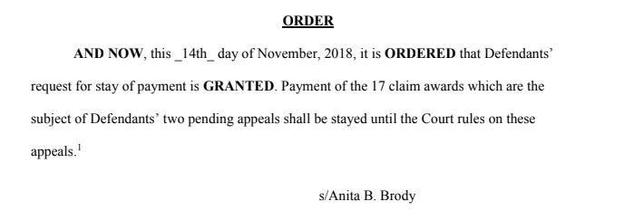 Judge Anita Brody stay order