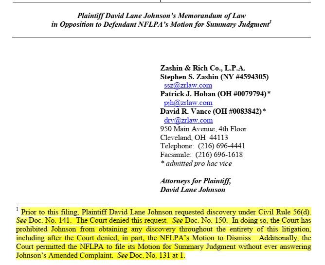 Steve Zashin opening for Johnson brief