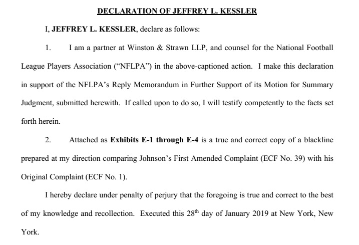 Jeffrey Kessler declaration