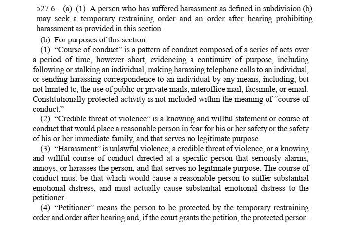 California Civil Procedure 527.6
