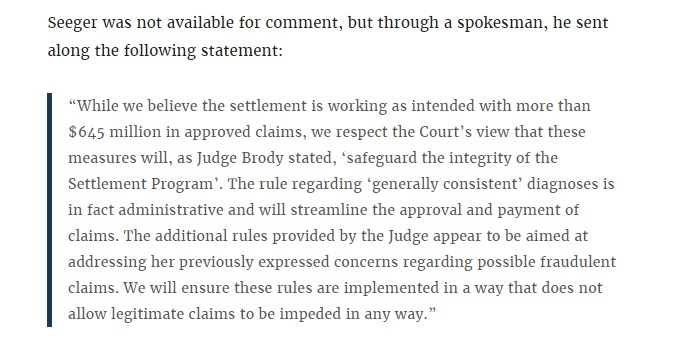 Seeger's comments to Deadspin