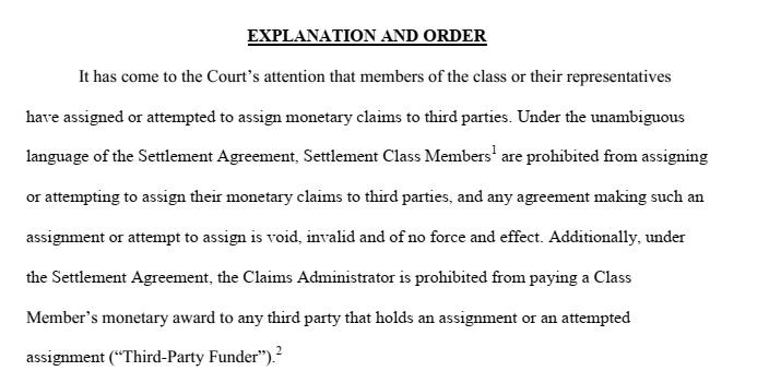 Judge Brodys Order voiding settlement advances