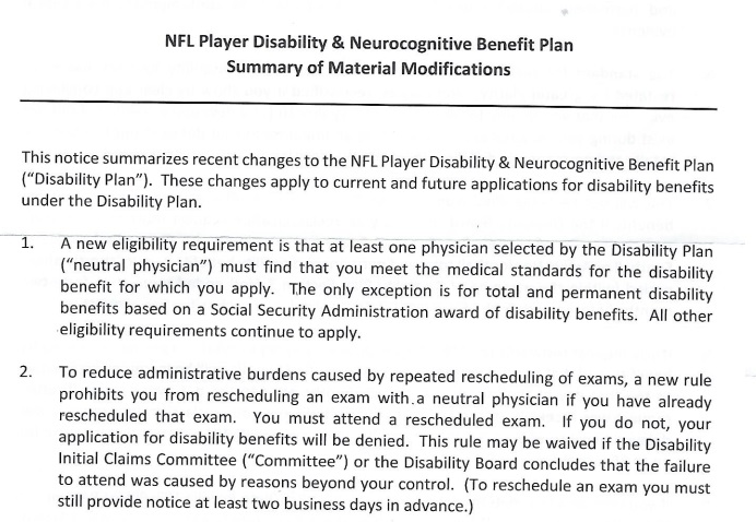 NFL Disability Plan Modifications