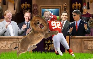 Darren Mickell thrown to lions by #NFL Roger Goodell John Mara, Jed York, Clark Hunt , Mark Davis