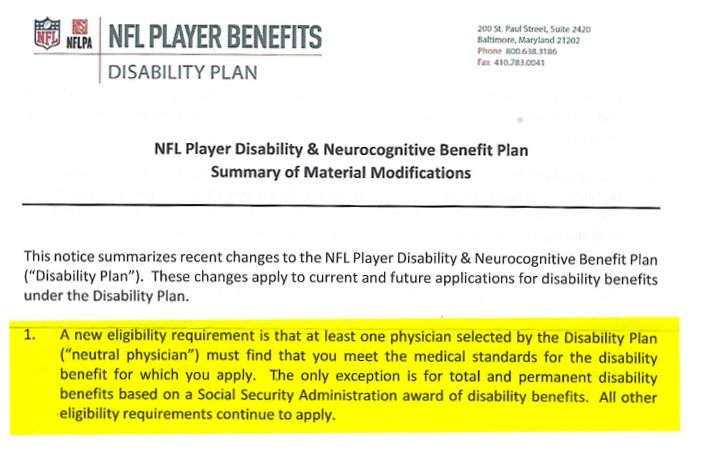 NFL Disability Plan revisions