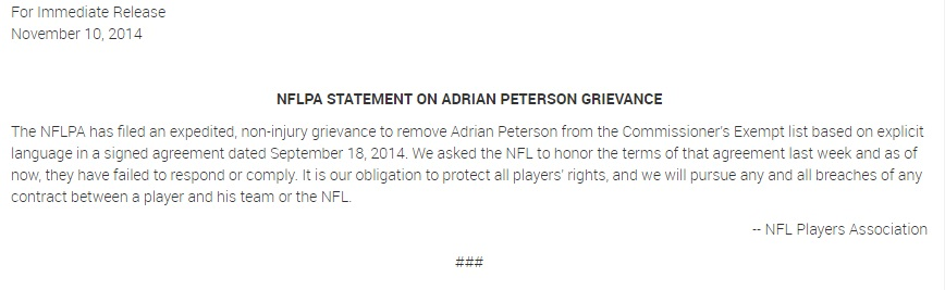 NFLPA statement on Peterson Grievance